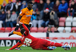 Wolves Midfielder Bakary Sako (FRA) is tackled by Bristol City Defender Matthew Bates (ENG) during the first half of the match - Photo mandatory by-line: Rogan Thomson/JMP - Tel: Mobile: 07966 386802 01/12/2012 - SPORT - FOOTBALL - Ashton Gate - Bristol. Bristol City v Wolverhampton Wanderers - npower Championship.