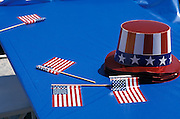 American flag and hats