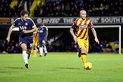 Bradford City midfielder Nicky Law (4) dribbling away from Southend United defender Ryan Leonard (18) during the EFL Sky Bet League 1 match between Southend United and Bradford City at Roots Hall, Southend, England on 19 November 2016. Photo by Matthew Redman.