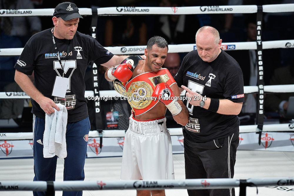 Khalid Yafai defeats Herald Molina to claim the vacant IBF Inter Continental Super Flyweight Title at the SSE Wembley Arena, London on the 20th September 2014. Sauerland Promotions. Credit: Leigh Dawney Photography.