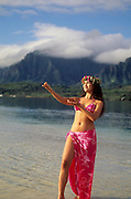 Polynesian Hula Dancer, Kaneohe Bay, Oahu, Hawaii