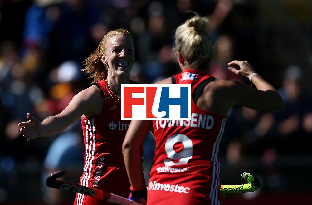 JOHANNESBURG, SOUTH AFRICA - JULY 23:  Susannah Townsend of England celebrates her goal with Nicola White during day 9 of the FIH Hockey World League Women's Semi Finals 3rd/ 4t place match between England and Argentina at Wits University on July 23, 2017 in Johannesburg, South Africa.  (Photo by Jan Kruger/Getty Images for FIH)