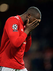 MANCHESTER, ENGLAND - Tuesday, March 13, 2018: Manchester United's Romelu Lukaku walks off the pitch dejected as his side crash out of Europe losing 1-2 to Sevilla during the UEFA Champions League Round of 16 2nd leg match between Manchester United FC and Sevilla FC at Old Trafford. (Pic by David Rawcliffe/Propaganda)