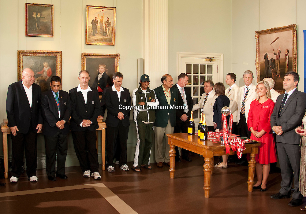 Mohammad Amir (in cap) stands with match officials during the presentation ceremony in the Long Room amidst the match fixing scandal during the final npower Test Match between England and Pakistan at Lord's.  Photo: Graham Morris (Tel: +44(0)20 8969 4192 Email: sales@cricketpix.com) 29/08/10