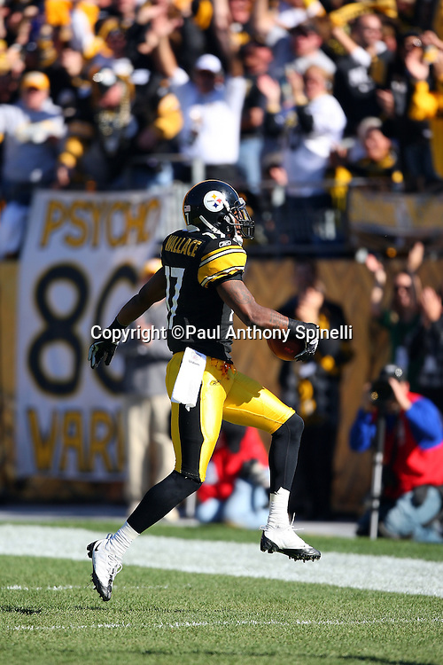 Pittsburgh Steelers wide receiver Mike Wallace (17) catches a 40 yard for a touchdown that gives the Steelers a 10-7 second quarter lead NFL football game against the Minnesota Vikings, October 25, 2009 in Pittsburgh, Pennsylvania. The Steelers won the game 27-17. (©Paul Anthony Spinelli)