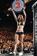 "DUBLIN, IRELAND, JANUARY 17, 2009: Octagon girl Logan Stanton walks on the cage apron during ""UFC 93: Franklin vs. Henderson"" inside the O2 Arena in Dublin, Ireland"
