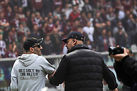 Un tifoso della Juventus viene arrestato a bordo campo <br /> A supporter of Juventus arrested in the field <br /> Fireworks exploded inside the stadium injured multiple fans. Before the match, Torino fans attacked the Juventus bus breaking a window<br /> Torino 26-04-2015, Stadio Olimpico, Football Calcio 2014/2015 Serie A TIM, Torino - Juventus, Foto Insidefoto