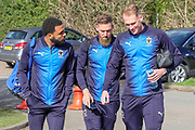 AFC Wimbledon striker Andy Barcham (17), AFC Wimbledon midfielder Mitchell (Mitch) Pinnock (11) and AFC Wimbledon midfielder Scott Wagstaff (7) arriving during the EFL Sky Bet League 1 match between AFC Wimbledon and Doncaster Rovers at the Cherry Red Records Stadium, Kingston, England on 9 March 2019.