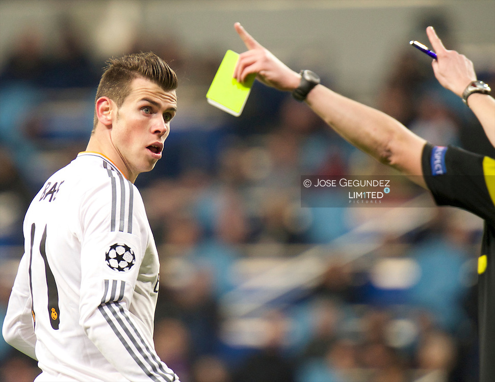 Arbeloa and Gareth Bale in action during the UEFA Champions League match between Real Madrid and Galatasaray. Real Madrid won the match 4-1 at Santiago Bernabeu on November 27, 2013 in Madrid