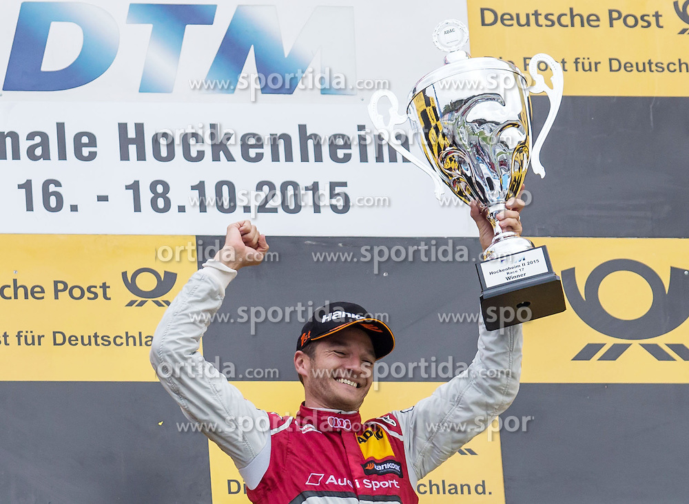 17.10.2015, Hockenheimring, Hockenheim, GER, DTM, Hockenheim, im Bild Timo Scheider (Audi RS5 DTM) bejubelt seinen Sieg // during the DTM Championship Race at the Hockenheimring in Hockenheim, Germany on 2015/10/17. EXPA Pictures &copy; 2015, PhotoCredit: EXPA/ Eibner-Pressefoto/ Neis<br /> <br /> *****ATTENTION - OUT of GER*****
