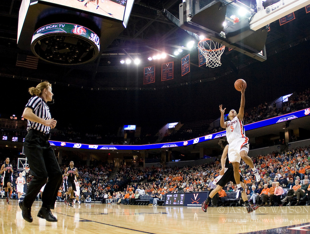 Virginia guard Sharnee Zoll (5) shoots against Maryland.  The Virginia Cavaliers women's basketball team fell to the #4 ranked Maryland Terrapins 74-62 at the John Paul Jones Arena in Charlottesville, VA on January 18, 2008.