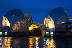 © Licensed to London News Pictures. 07/02/2014. London, UK. The Thames Barrier at Woolwich in South East London is closed for the 500th time ever this evening, February 7th 2014 as part of the Environment Agency flood defence strategy. Photo credit : Vickie Flores/LNP