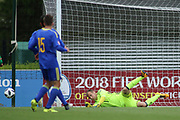 Luka Kacavenda of Bosnia and Herzegovina (1) makes a fine diving save during the UEFA European Under 17 Championship 2018 match between Bosnia and Republic of Ireland at Stadion Bilino Polje, Zenica, Bosnia and Herzegovina on 11 May 2018. Picture by Mick Haynes.