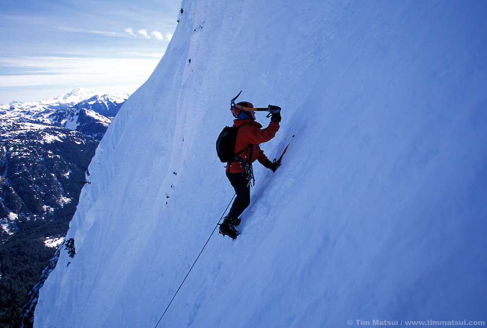 Kristie Arend climbing Spindrift Couloir, Big Four Mountain, North Cascades.