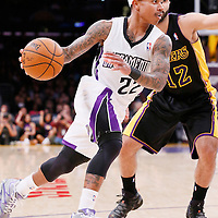 28 February 2014: Sacramento Kings point guard Isaiah Thomas (22) drives past Los Angeles Lakers point guard Kendall Marshall (12) during the Los Angeles Lakers 126-122 victory over the Sacramento Kings at the Staples Center, Los Angeles, California, USA.