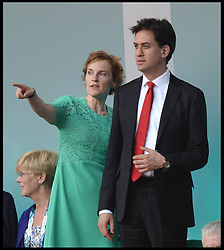 Image licensed to i-Images Picture Agency. 23/07/2014. Glasgow, United Kingdom. Ed and Justine Miliband during the opening ceremony of  the Commonwealth Games in Glasgow.. Picture by Andrew Parsons / i-Images