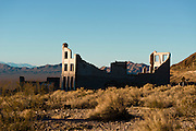 Ruined buildings from the Ghost town of Rhyolite, NV. A short lived mining community that went from incredible boom to bust between 1905 and 1911, leaving behind large scale ruins.