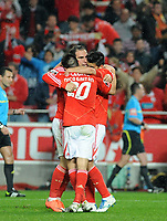 20120331: LISBON, PORTUGAL - Portuguese Liga Zon Sagres 2011/2012 - SL Benfica vs CS Braga.<br /> In picture: Benfica's Bruno Cesar, from Brazil, center, celebrates with teammates Nicolas Gaitan, from Argentine and Nolito, from Spain, after scoring the 2nd goal.<br /> PHOTO: Alvaro Isidoro/CITYFILES