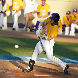 05 June 2009:  Micah Gibbs of LSU connects with a pitch during game one of the NCAA baseball College World Series, Super Regional game between the Rice Owls and the LSU Tigers at Alex Box Stadium in Baton Rouge, Louisiana.