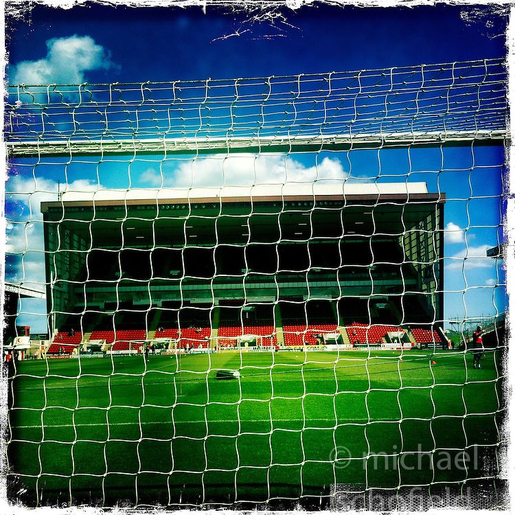 Pittodrie Stadium is an all-seated football stadium situated in the Scottish city of Aberdeen. It was first used in 1899 and from 1903 has been the home of Aberdeen Football Club..Hipstamatic images taken on an Apple iPhone..©Michael Schofield.