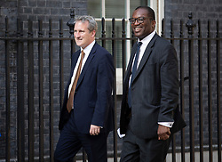 © Licensed to London News Pictures. 22/07/2019. London, UK. Education Secretary Damian Hinds and Kwasi Kwarteng MP arrive for Prime Minister Theresa May's farewell drinks reception at Downing Street.  Voting in the Conservative party leadership election ends today with the results to be announced tomorrow. Photo credit: Peter Macdiarmid/LNP