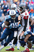 NASHVILLE, TN - OCTOBER 25:  Matt Ryan #2 of the Atlanta Falcons is hit after throwing a pass by Jurrell Casey #99 of the Tennessee Titans at Nissan Stadium on October 25, 2015 in Nashville, Tennessee.  The Falcons defeated the Titans 10-7.  (Photo by Wesley Hitt/Getty Images) *** Local Caption *** Matt Ryan; Jurrell Casey