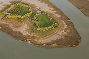 Aerial view of a island with Carolina bays along the marsh in Charleston, SC.