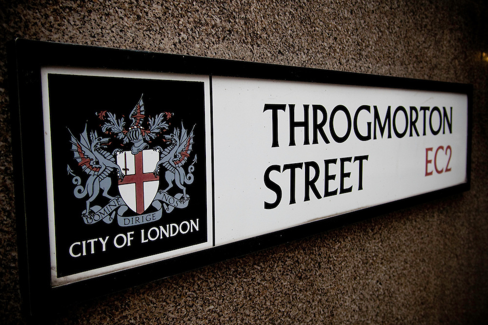Road sign in Throgmorton Street, City of London
