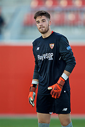 SEVILLE, SPAIN - Tuesday, November 21, 2017: Seville's goalkeeper Kamil Grabara during the UEFA Youth League Group E match between Sevilla FC and Liverpool FC at the Ciudad Deportiva Jose Ramon Cisneros. (Pic by David Rawcliffe/Propaganda)