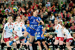 Daniela De Oliveira Piedade #5 of Krim during handball match between RK Krim Mercator (SLO) and Larvik HK (NOR) in second game of semi final of EHF Women's Champions League 2012/13 on April 13, 2013 in Arena Stozice, Ljubljana, Slovenia. (Photo By Urban Urbanc / Sportida).