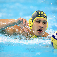 Pietro Figlioli of Australia carries the ball down the pool in the match Australia v Montenegro at the ..Yingdong Natatorium of National Olympic Sports Center 18-8-08   ..Photo: Grant Treeby/WSP