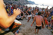 Hippies drumming, Sunset beach party, Benirras Beach, Ibiza, July 2006