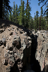 An earth quake fault near Mammoth Lakes, California, USA.  The fissure, caused by several quakes is located off highway 203 on the route up to Mammoth Mountain.
