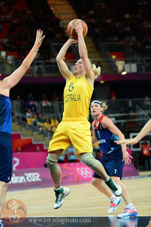 Jul 28, 2012; London, United Kingdom; Australia guard Samantha Richards (5) shoots the ball against Great Britain during the second half at Basketball Arena. Australia defeated Great Britain 74-58.