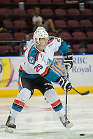 KELOWNA, CANADA - SEPTEMBER 5: Cal Foote #25 of Kelowna Rockets passes the puck against the Prince George Cougars on September 5, 2015 during the first pre-season game at Prospera Place in Kelowna, British Columbia, Canada.  (Photo by Marissa Baecker/Shoot the Breeze)  *** Local Caption *** Cal Foote;