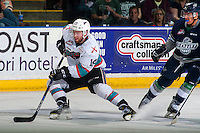 KELOWNA, CANADA - APRIL 22: Rourke Chartier #14 of Kelowna Rockets skates with the puck against the Seattle Thunderbirds on April 22, 2016 at Prospera Place in Kelowna, British Columbia, Canada.  (Photo by Marissa Baecker/Shoot the Breeze)  *** Local Caption *** Rourke Chartier;