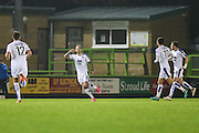 Tranmere Rovers James Norwood(10) celebrates his goal, 2-2 during the Vanarama National League match between Forest Green Rovers and Tranmere Rovers at the New Lawn, Forest Green, United Kingdom on 22 November 2016. Photo by Shane Healey.