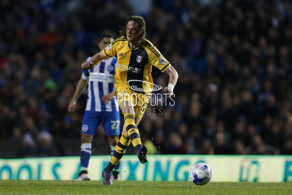 Fulham defender Richard Stearman (5) during the Sky Bet Championship match between Brighton and Hove Albion and Fulham at the American Express Community Stadium, Brighton and Hove, England on 15 April 2016.