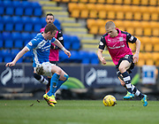 Dundee&rsquo;s Henrik Ojamaa runs at St Johnstone&rsquo;s Thomas Scobbie - St Johnstone v Dundee in the Ladbrokes Scottish Premiership at McDiarmid Park, Perth: Picture &copy; David Young<br /> <br />  - &copy; David Young - www.davidyoungphoto.co.uk - email: davidyoungphoto@gmail.com