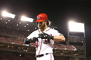 October 6, 2017 - Washington, DC, USA - The Washington Nationals' Bryce Harper heads back to the dugout after popping out in the eighth inning against the Chicago Cubs during Game 1 of the National League Division Series on Friday, Oct. 6, 2017, at Nationals Park in Washington, D.C. The Cubs won, 3-0. (Credit Image: © Chris Sweda/TNS via ZUMA Wire)