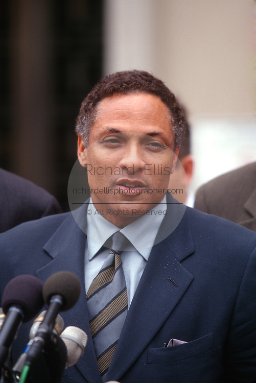 WASHINGTON, DC - September 10: Mike Espy, former agricultural secretary leaaves the Federal Courthouse after his arraignment in Washington, DC. September 10, 1997  (Photo RIchard Ellis)