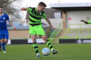 Forest Green Rovers forward Christian Doidge (9) shoots at goal 0-1 during the Vanarama National League match between Forest Green Rovers and North Ferriby United at the New Lawn, Forest Green, United Kingdom on 1 April 2017. Photo by Alan Franklin.