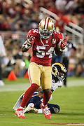 San Francisco 49ers outside linebacker Ray-Ray Armstrong (54) celebrates a tackle against the Los Angeles Rams at Levi's Stadium in Santa Clara, Calif., on September 12, 2016. (Stan Olszewski/Special to S.F. Examiner)
