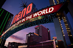 """""""Reno Arch at Sunset 2"""" - Photography of the Biggest Little City in the World Reno Arch at sunset in Downtown Reno, Nevada."""