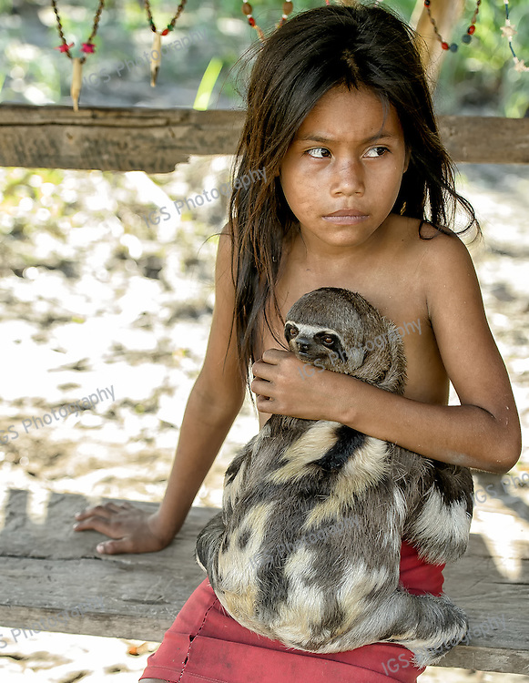 Yagua Indian Girl with pet sloth