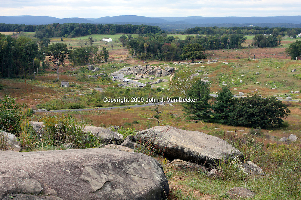 View from Little Round Top looking down at Devil's Den, Gettysburg