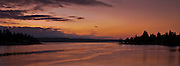 Dyes inlet in evening alpenglow viewed from Tracyton Blvd between Bremerton and Tracyton showing Washington Narrows and Dyes Inlet, Kitsap County, Washington, USA panorama