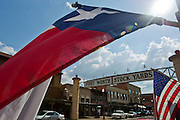 Stock photography of the Fort Worth Stock Yards sign in Fort Worth, Texas.
