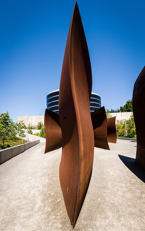 "View of steel sculpture (""Wake"") by Richard Serra, Olympic Sculpture Park, Seattle, Washington"