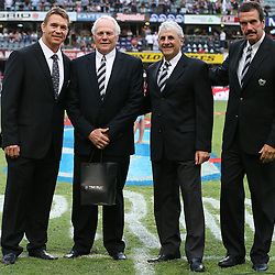 DURBAN, SOUTH AFRICA - FEBRUARY 22: John Smit (Chief executive officer) of the Cell C Sharks with former Sharks CEO Brian van Zyl of the Cell C Sharks Mr Stephen Saad, the Chairman of the Cell C Sharks Board of Directors and Graham MacKenzie (President KwaZulu - Natal Rugby Union) of the Cell C Sharks during the Super Rugby match between Cell C Sharks and Hurricanes at GROWTHPOINT Kings Park on February 22, 2014 in Durban, South Africa. (Photo by Steve Haag)
